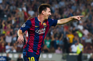 BARCELONA, SPAIN - OCTOBER 21:  Lionel Messi of FC Barcelona celebrates after scoring his team's second goal during a UEFA Champions League Group F match between FC Barcelona and AFC Ajax at the Camp Nou Stadium on October 21, 2014 in Barcelona, Spain.  (Photo by David Ramos/Getty Images)